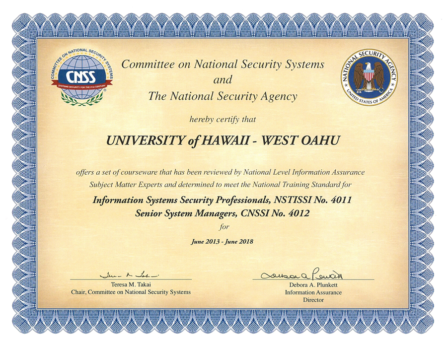 Certificate from Committee on National Security Systems and The National Security Agency