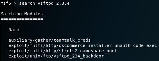 Searching for exploit module in Metasploit