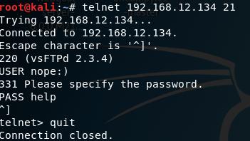 Connecting through telnet on Kali Linux