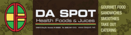 Da Spot Health Foods and Juices sign