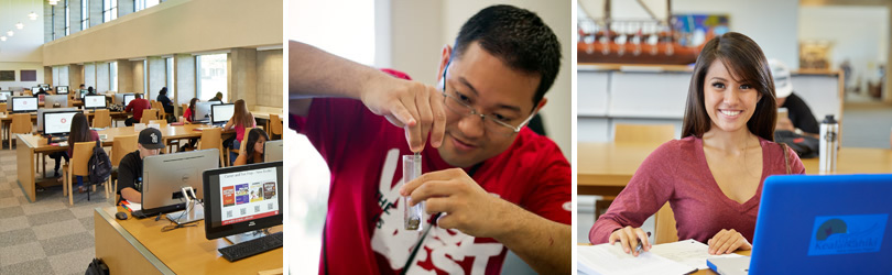 Images of the interior of the library, a student inspecting the contents of a test tube, a smiling UH West Oahu student.