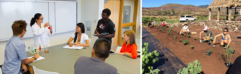 Images of an instructor in front of students in a classroom and students planting seedlings in the organic garden on campus.