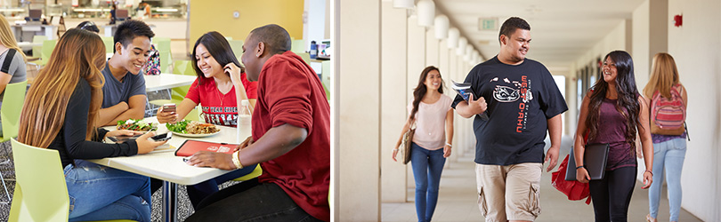 Images of students enjoying a meal in the campus dining hall and two students walking down a hallway.