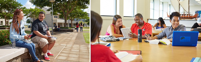 Images of two students laughing in the courtyard and two students studying in the library.