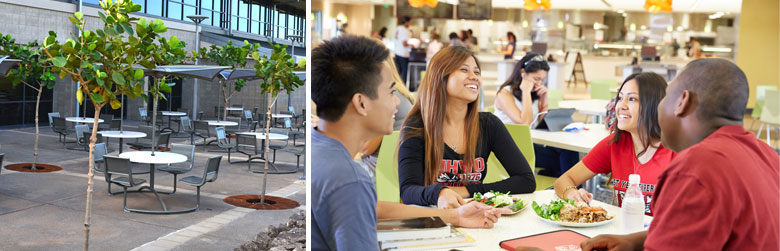 Images of the outdoor dining area and four students enjoying lunch in the campus dining hall.