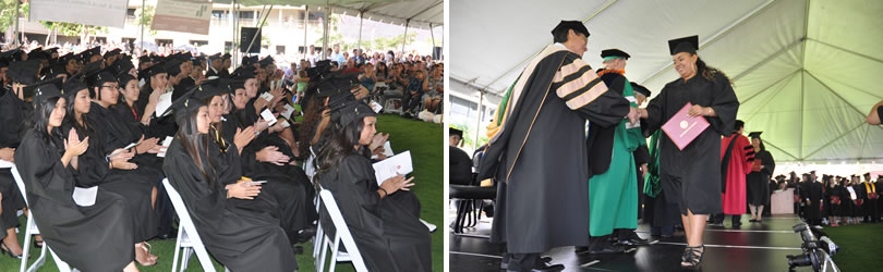 Graduates seated and a student receiving her diploma during a UH West Oahu commencement ceremony.