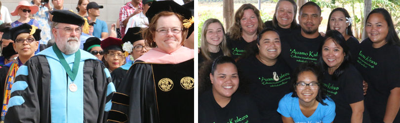 Faculty in academic regalia congratulate graduating students during commencement and staff posing in the organic garden.