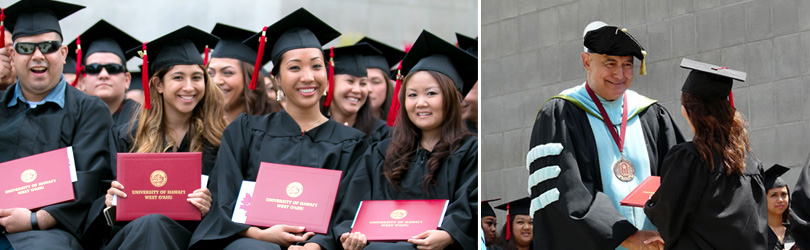 Images of UH West Oahu graduates holding their diplomas at their commencement ceremony and Emeritus Chancellor Freitas congratulating a student.