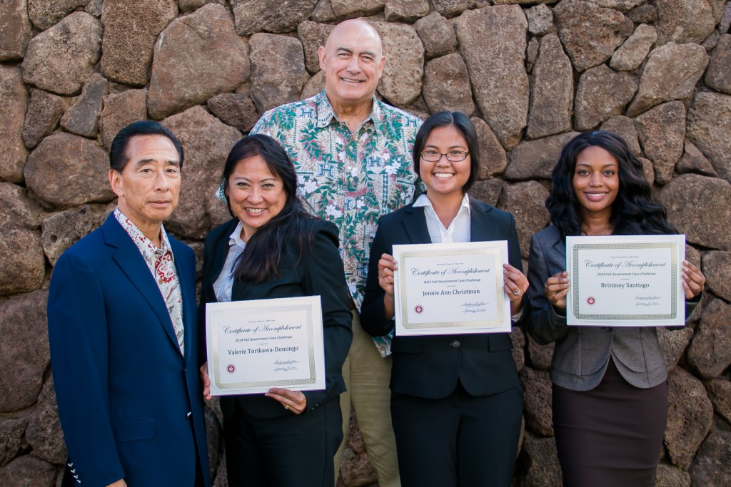 UH West Oʻahu award-winning students with Faculty Advisor and Associate Professor of Accounting Dr. Franklin T. Kudo and Chancellor Rockne Freitas. From left to right: Franklin T. Kudo, Valerie Torikawa-Domingo, Rockne Freitas, Jennie Ann Christman, and Brittiney Santiago.