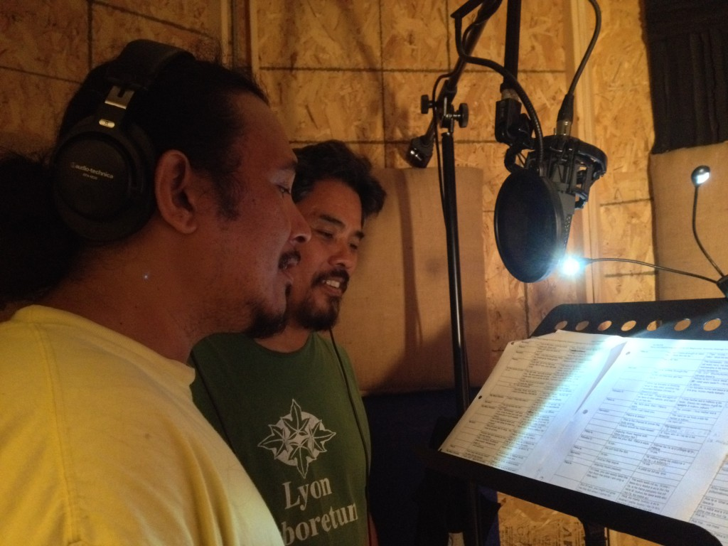 Kalama Cabigon (left) and Sam ʻOhu Gon III (right) in the UH West Oʻahu recording studio (room D249).