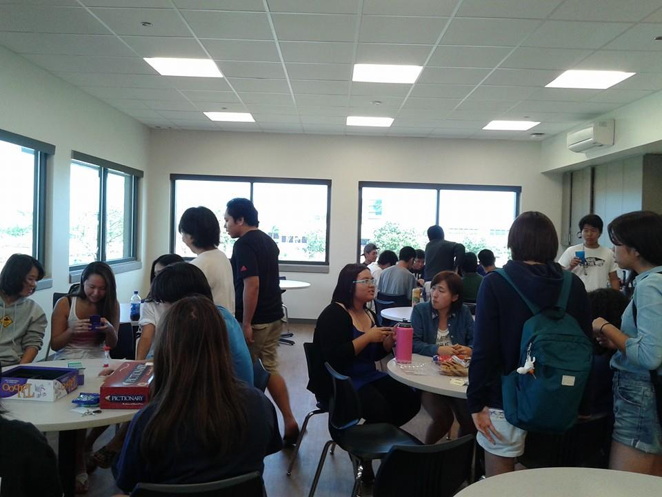 Students sitting in Tokai campus's lunch room