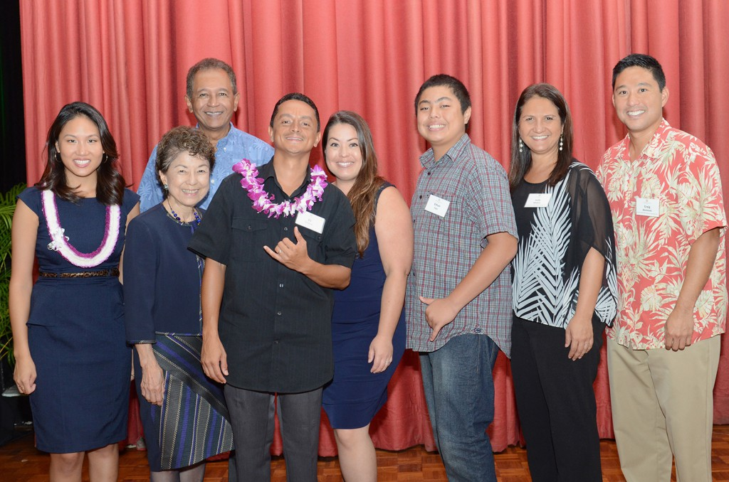 (from left)  UHWO student Coralyn Sunico; UHWO Vice Chancellor for Academic Affairs, Doris Ching; Leeward Community College Chancellor, Manny Cabral; UHWO student Eli Cintron; (Unknown); Ethan Fata; UHWO Interim Vice Chancellor for Student Affairs, Judy Oliveira; UHWO Director of Admissions, Craig Morimoto.
