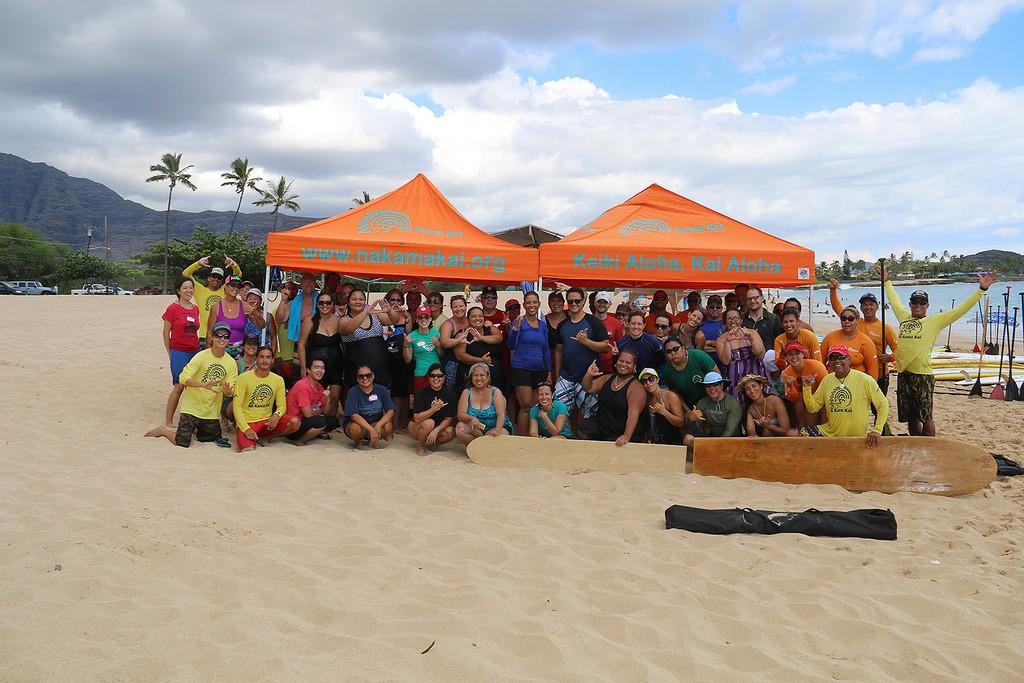 UHWO faculty and staff at Mākaha Beach during Pili 'Āina