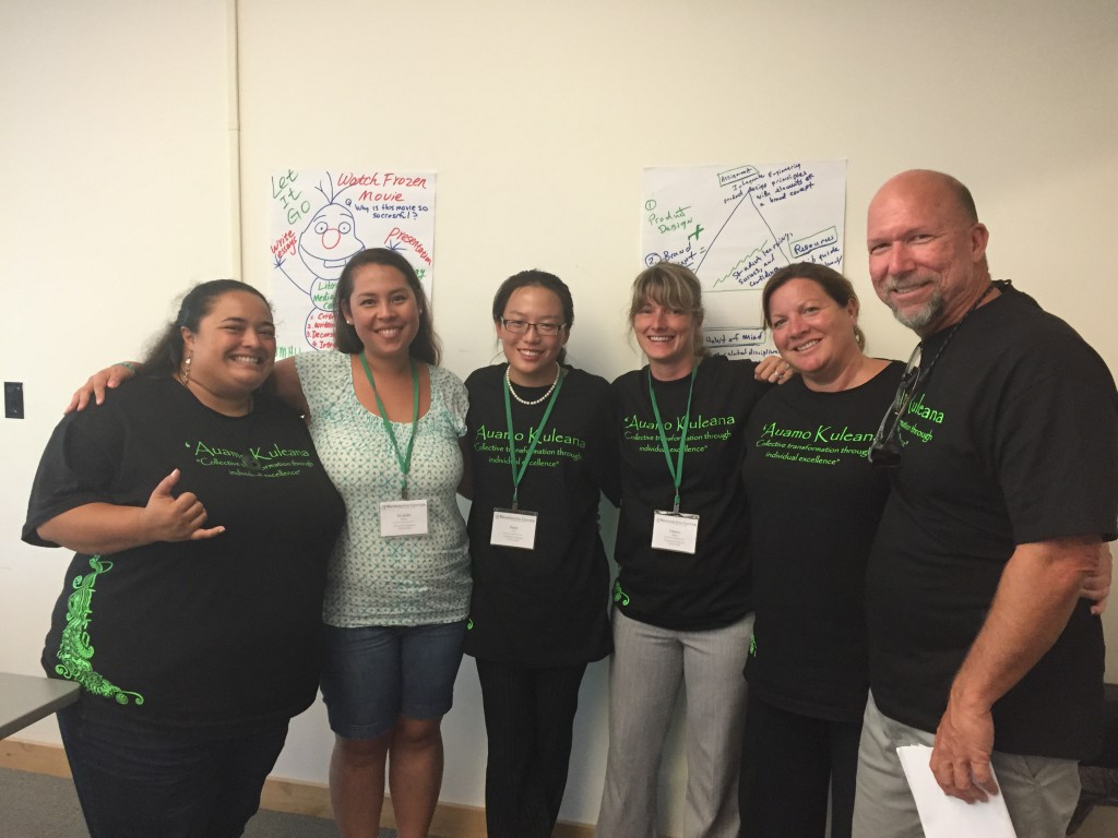 From left to right: Tiana Henderson, Kealohi Perry, Patricia Yu, Christy Mello, Melissa Saul and Michael Hayes at the National Summer Institute on Learning Communities in Olympia, Washington.