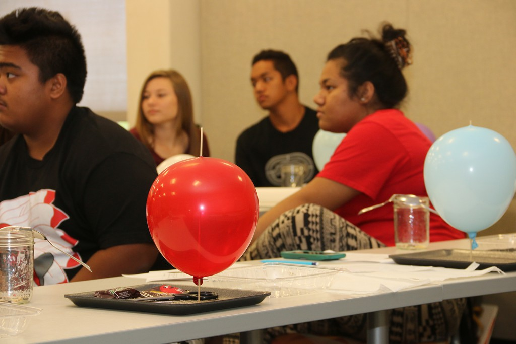 Close-up of the balloon experiment by Onipaʻa students