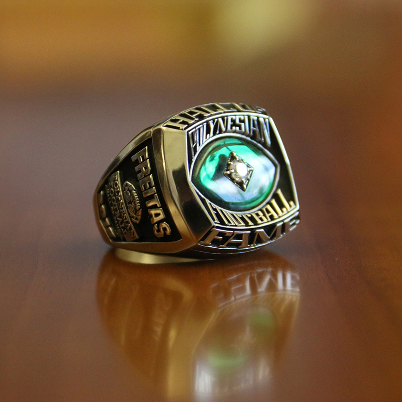 Photo of Rockne Freitas's Polynesian Football Hall of Fame ring
