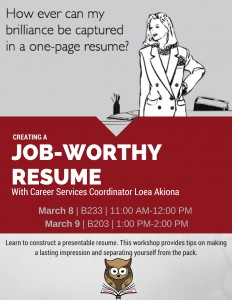 Creating a Job-worthy Resume (March 8 and 9)