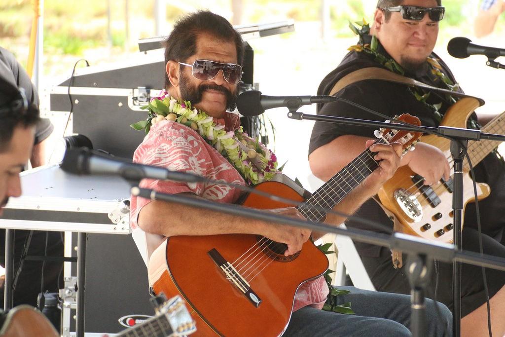 Nā Hokū Hanohano Award Winner and Hawaiian Music Hall of Famer Palani Vaughan performing at Hoʻokani Kulanui on Feb. 18.