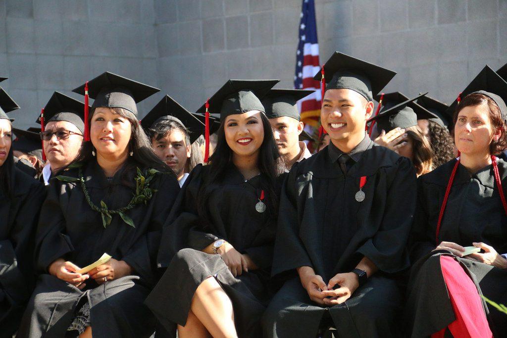 Happy graduates at commencement.