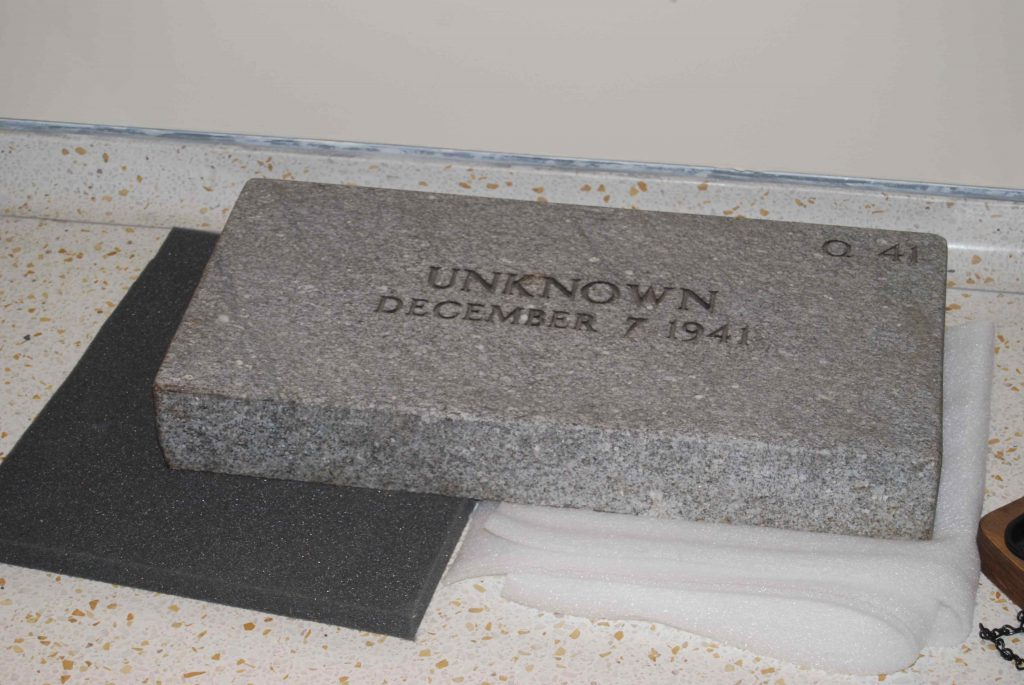 Tombstone of the unknown on display at Senator Daniel K. Inouye Defense POW/MIA Accounting Agency Center of Excellence at Hickam Air Force Base.