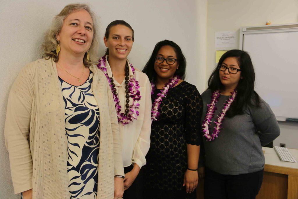 Dr. Brenda Machosky, Tiffany Shelton, Kuʻualoha Kauanoe-Luda, and Dexsie Marcos at the Humanities Student Conference on April 29.