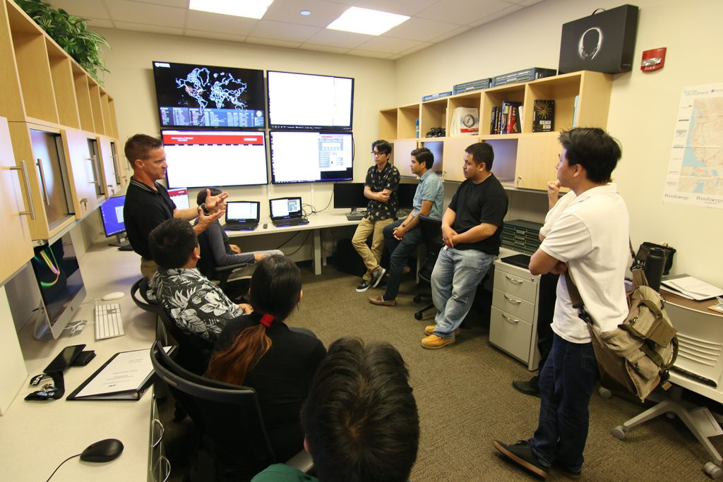 Dr. Matthew A. Chapman and student interns at the UH West Oʻahu Cyber Security Coordination Center discuss regional cybersecurity and cyber workforce development with guests from Space and Naval Warfare Systems Command Systems Center Pacific in San Diego, Calif.