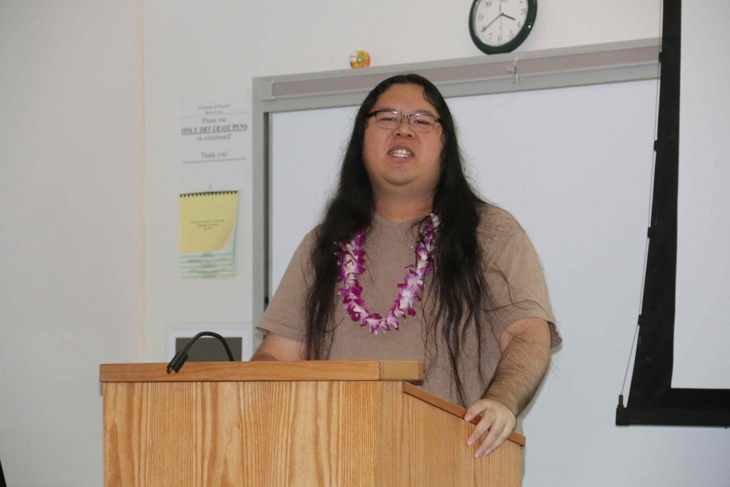 UH West Oʻahu history student Tyrus Kalani discussing his senior project on geisha in Japan.