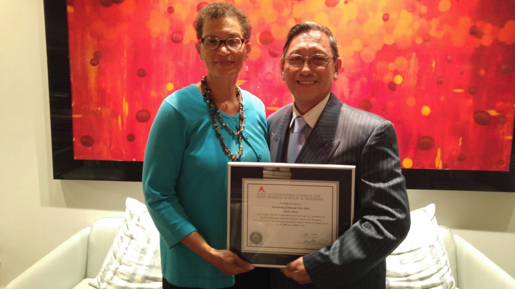From left to right: Dr. Linda Randall and Dr. Derrek Choy at the Accreditation Council for Business Schools and Programs conference in Atlanta in June 2016.