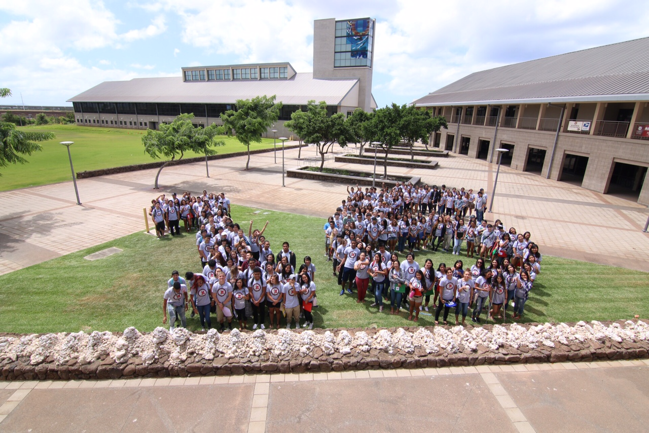 Members of the 2016 incoming freshman class pose for a picture commemorating their first year at UH West Oahu, during La Punua (freshman orientation).