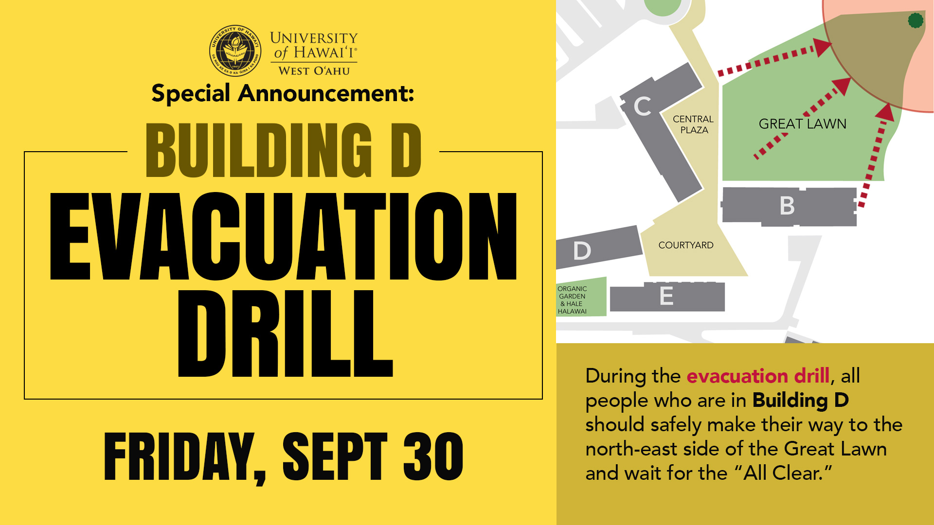 Evacuation Drill in Building D on Sept. 30, 2016