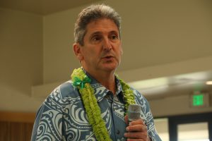 David Lassner speaks to UH West O'ahu faculty, staff, students and community members.