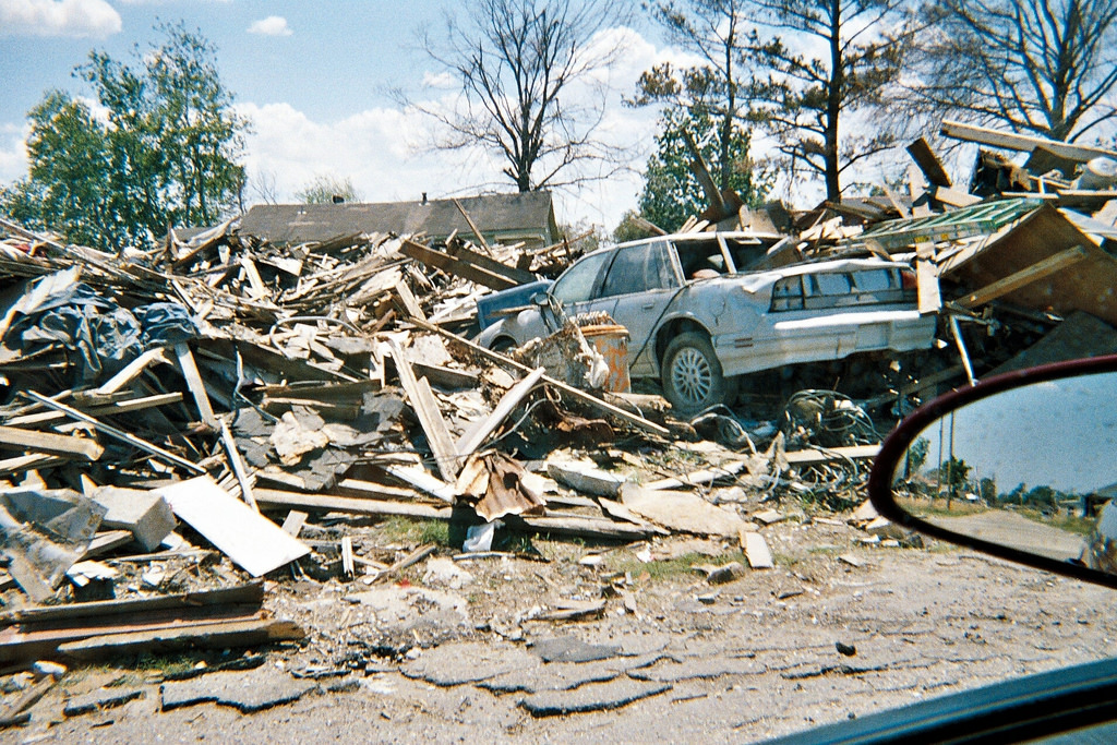 Destroyed house and car