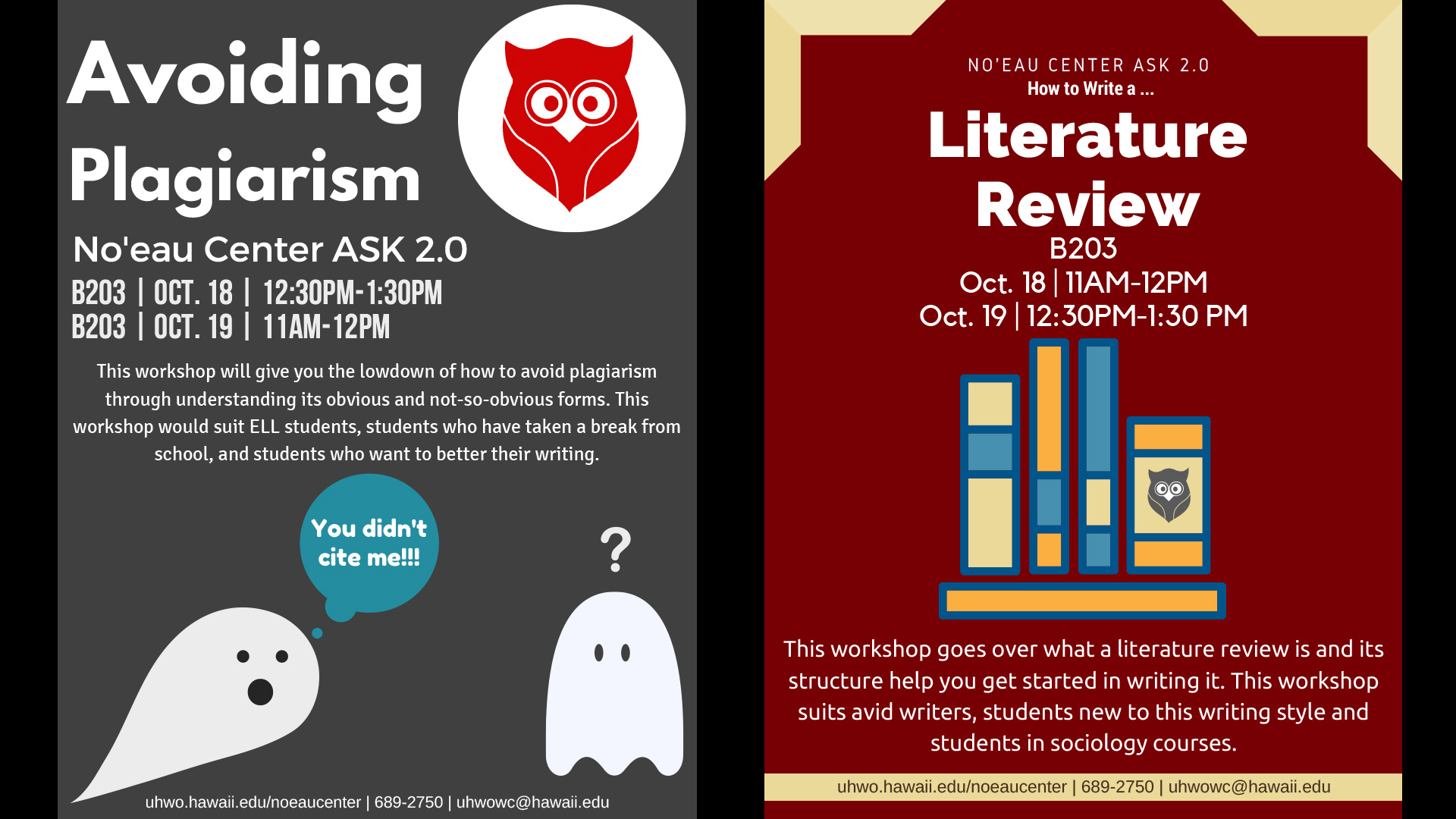 "Noeau Center's ASK 2.0 Workshops on ""How to Write a Literature Review"" and ""Avoiding Plagiarism"" on Oct. 18 and 19."