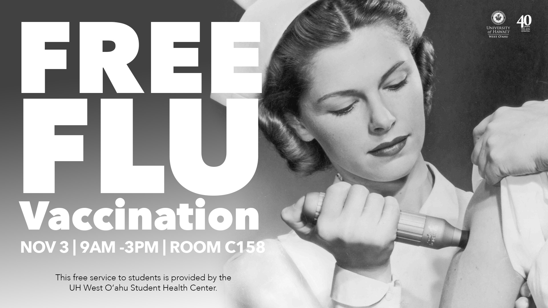 Free flu vaccinations on November 3