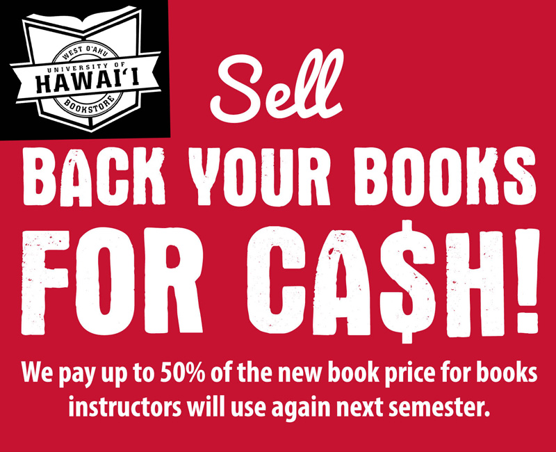 Sell back books for cash at UHWO bookstore