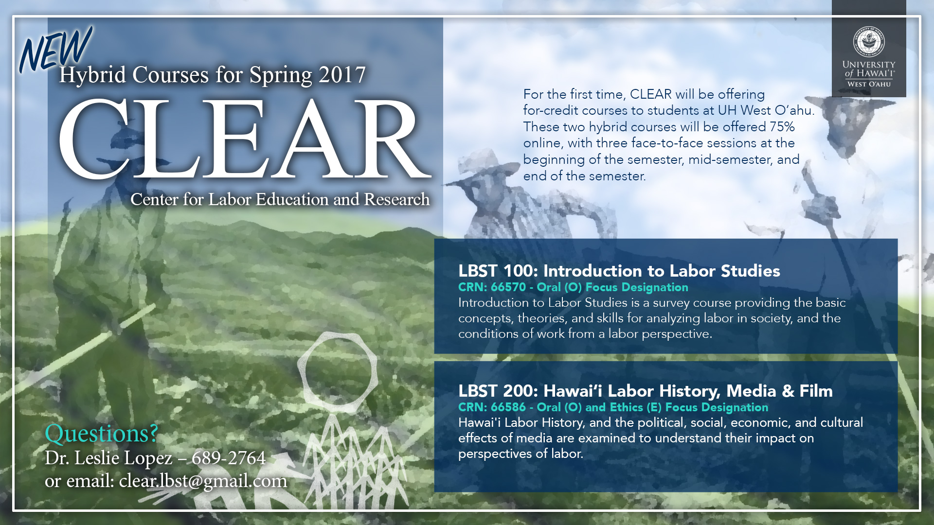 CLEAR Hybrid courses for Spring 2017