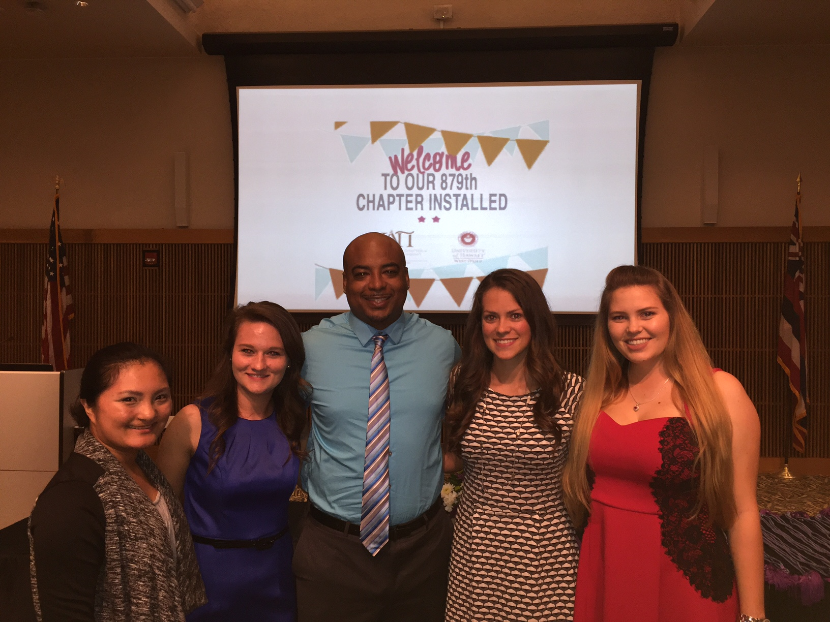 Officers of the 2016 Kappa Delta Pi class (from left: Gina Ramiscal, Haylie Culp, Adrian Hill, Elizabeth Soldner, and Elizabeth Gustafson).