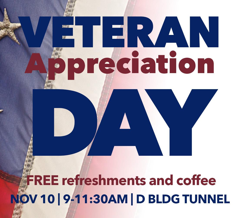 Veterans Day appreciation event on November 10