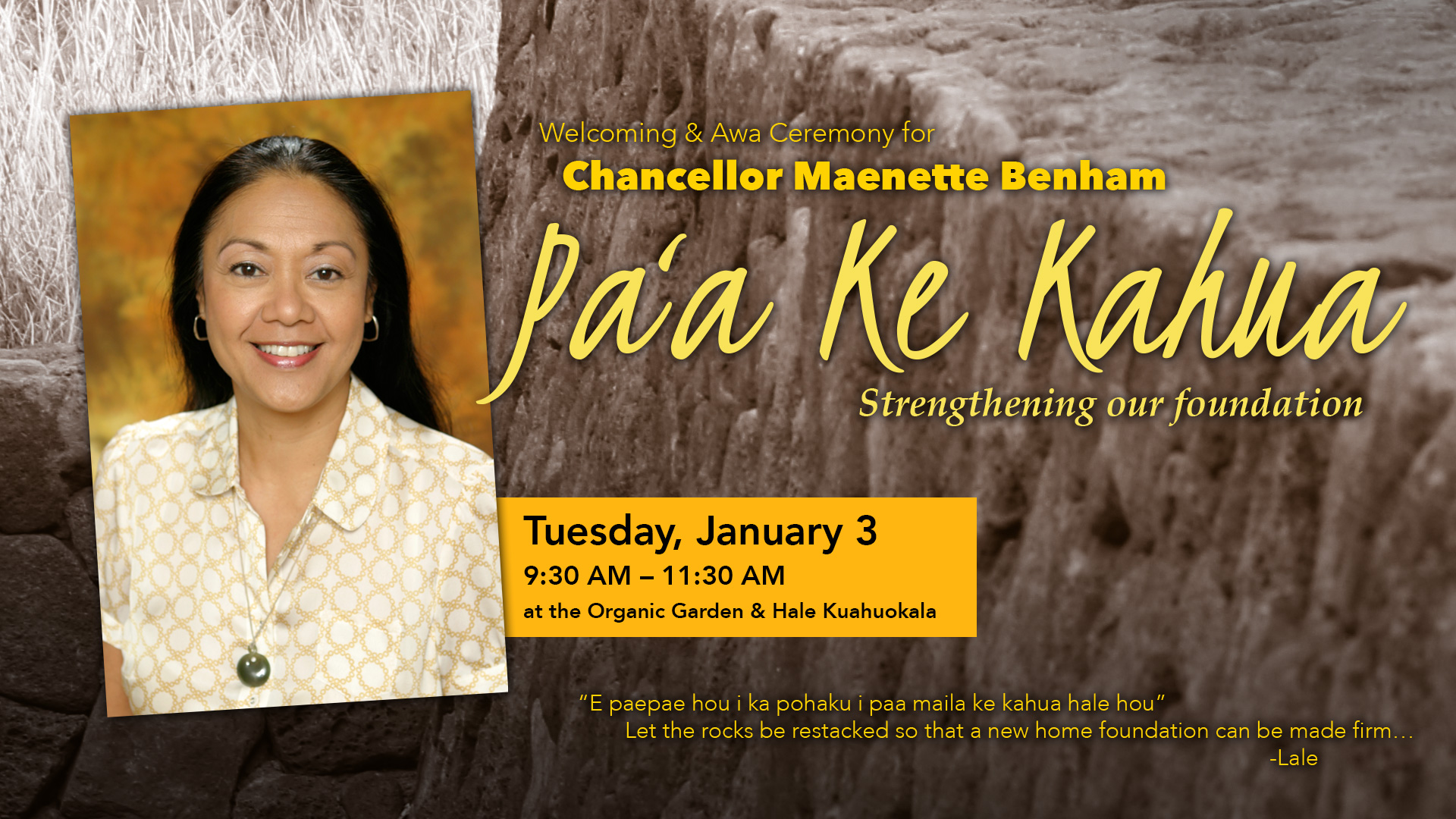 Flyer for welcome ceremony for Chancellor Maenette Benham, Jan. 3, 2017.