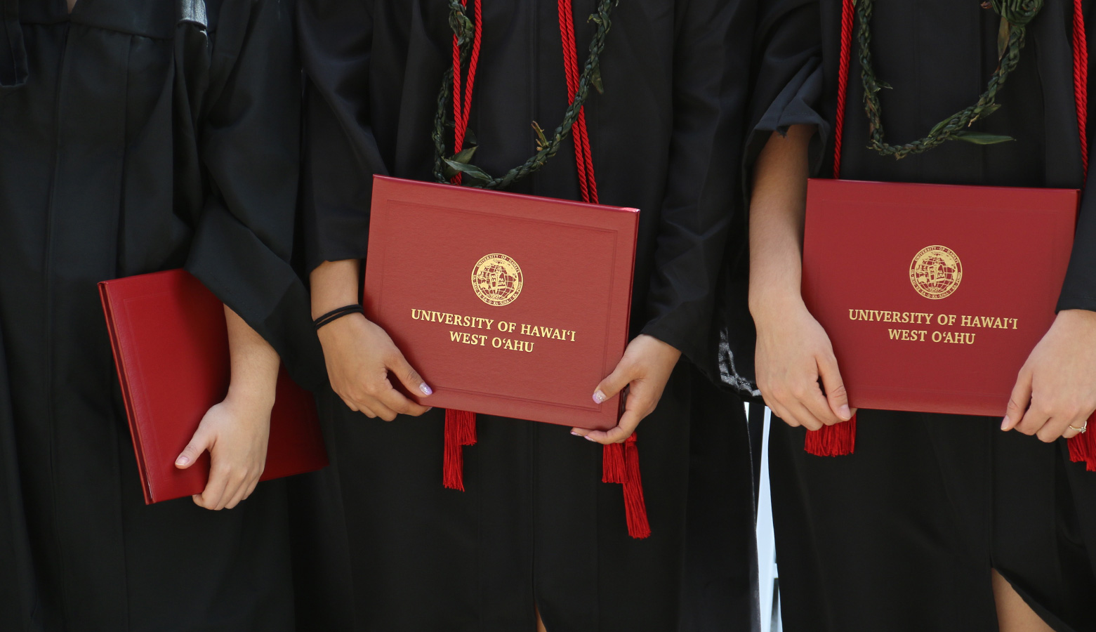 Close-up of diplomas being held by graduates at the Spring 2016 commencement ceremony.