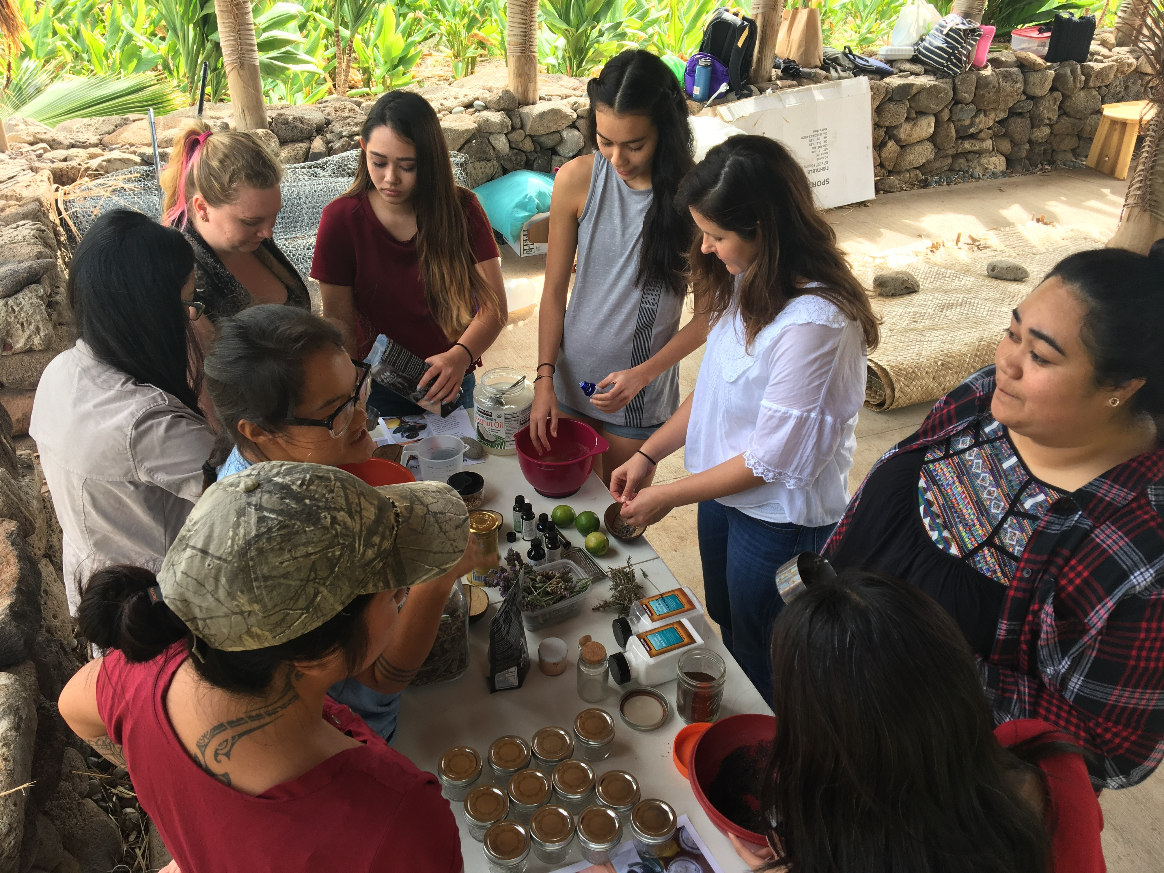 Participants learn how to make all-natural products at the UH West Oahu Self-Care Workshops.