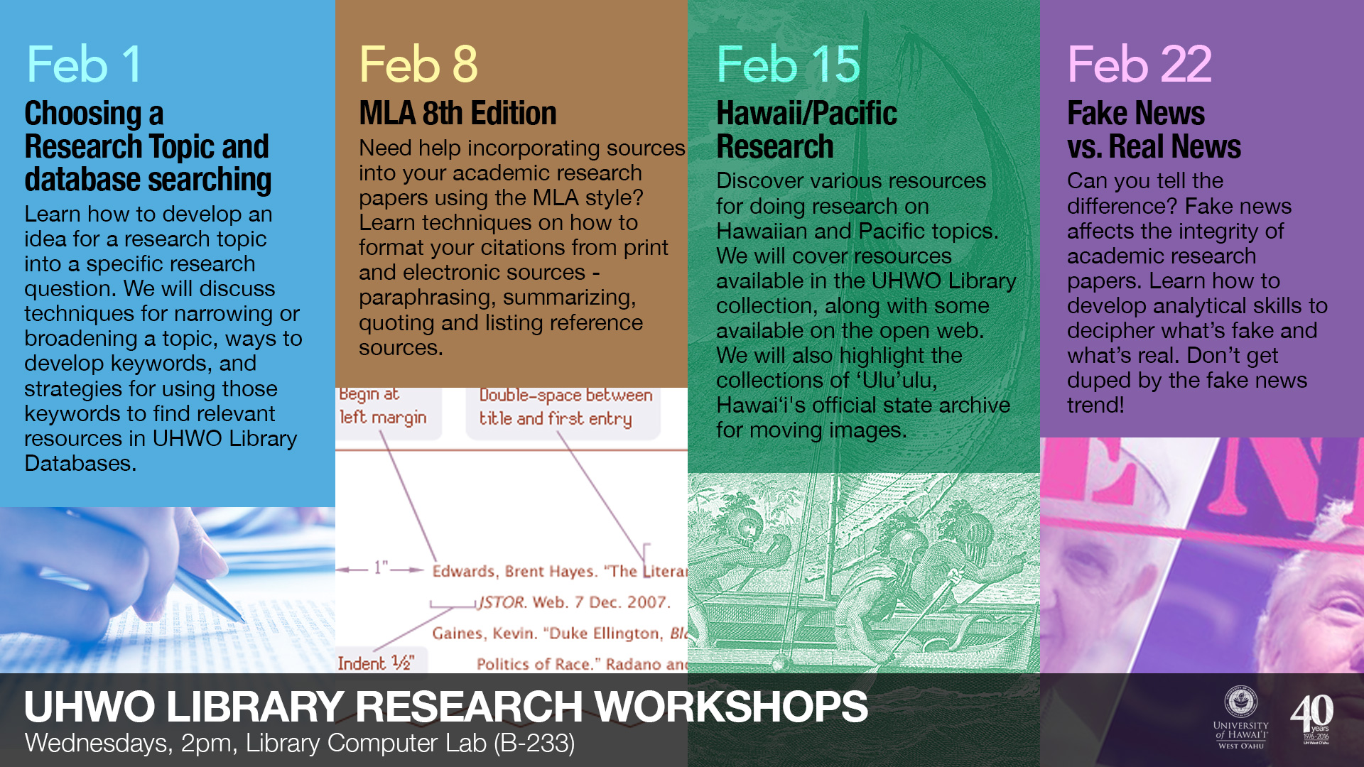 Library Workshops for February 2017
