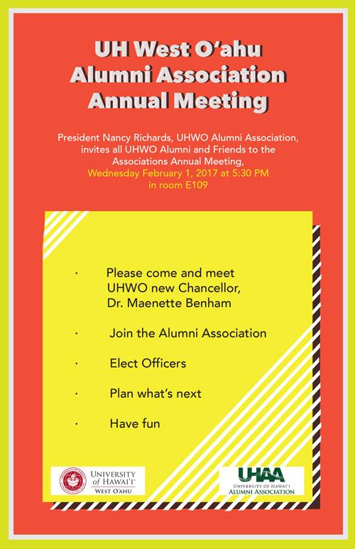 UHWO Alumni Association Annual Meeting, Feb. 1