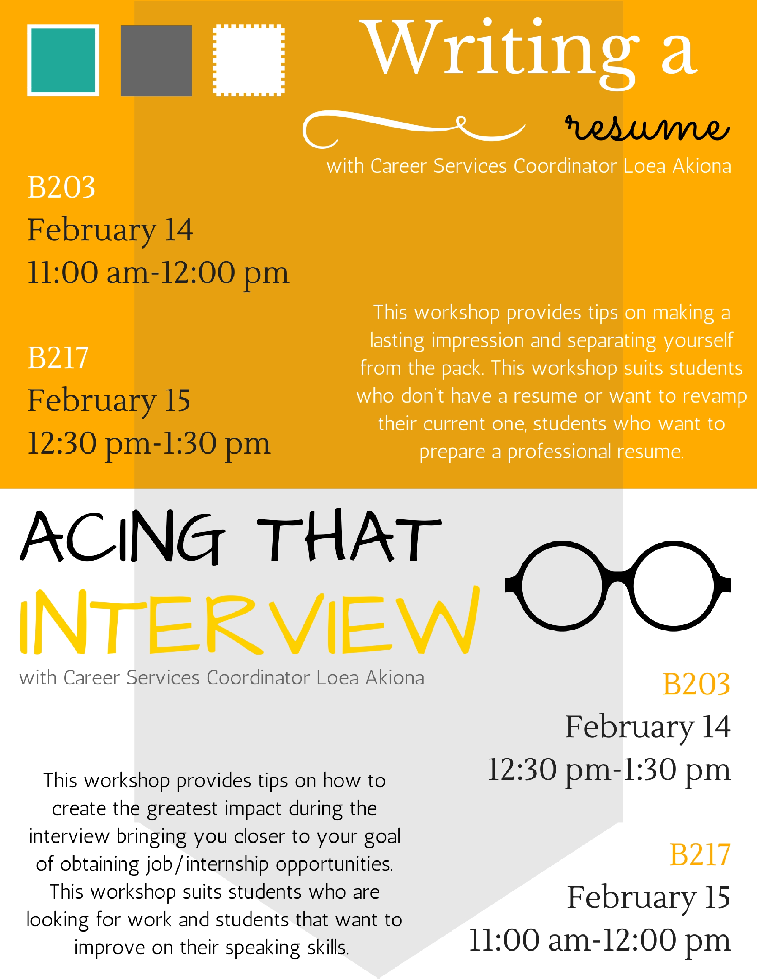 E Kamakani Hou Resume and Interview Workshops with Career Services