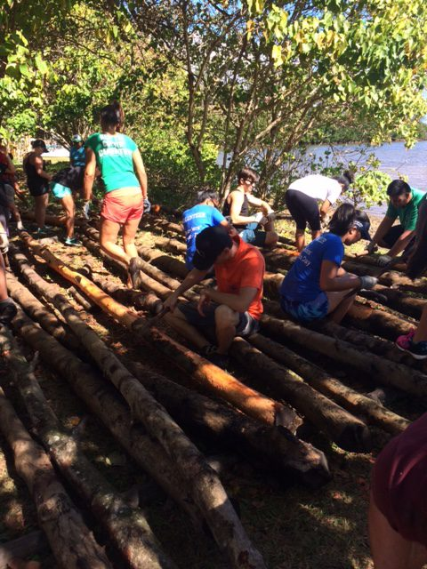 Students performing service learning work at He'eia Fishpond