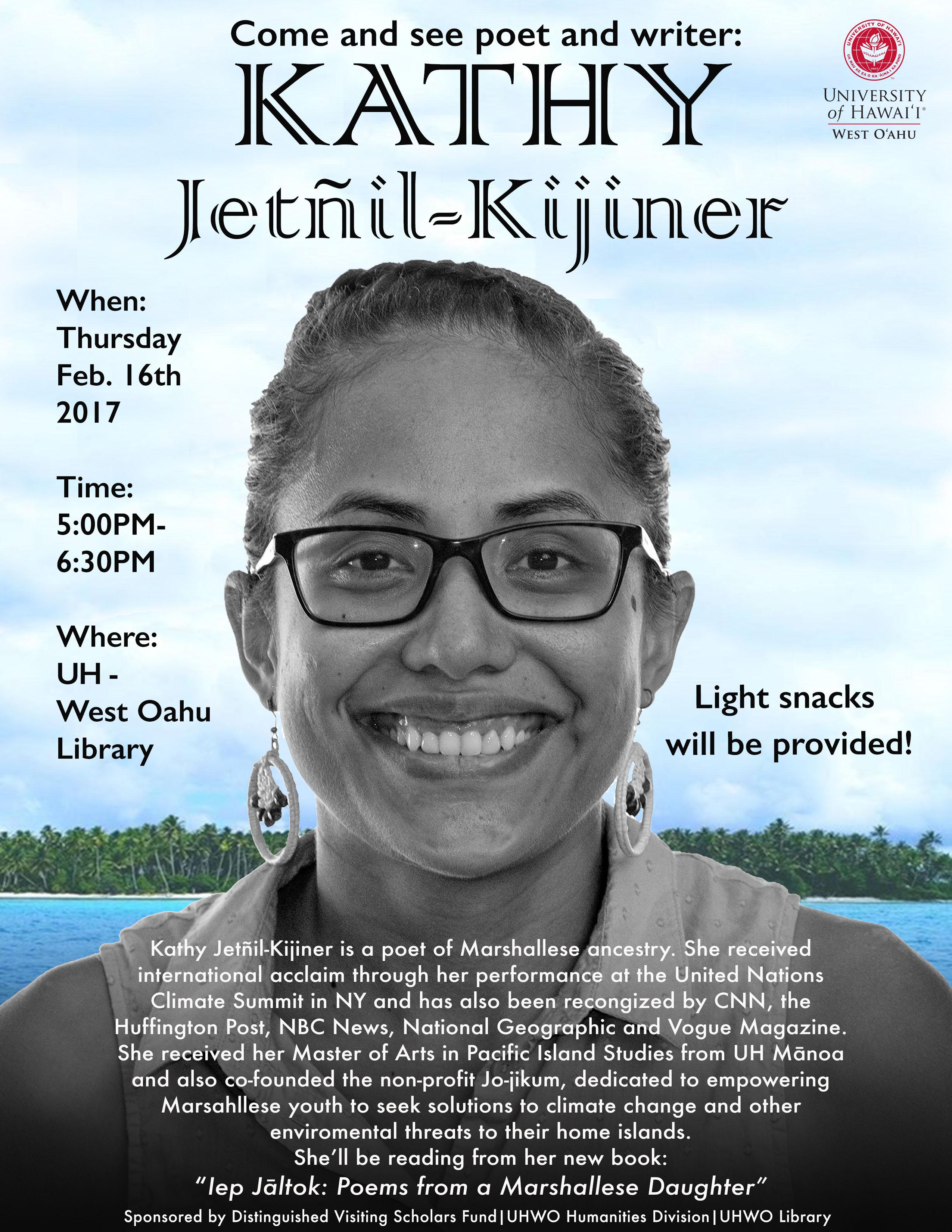 Kathy Jetñil-Kijiner speaking at UHWO on Feb. 16.