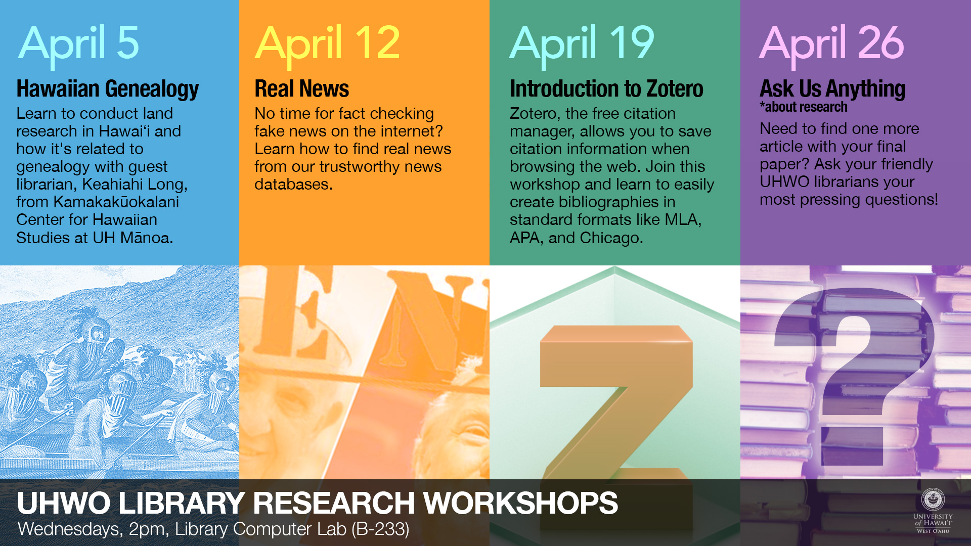 Library Workshops in April 2017