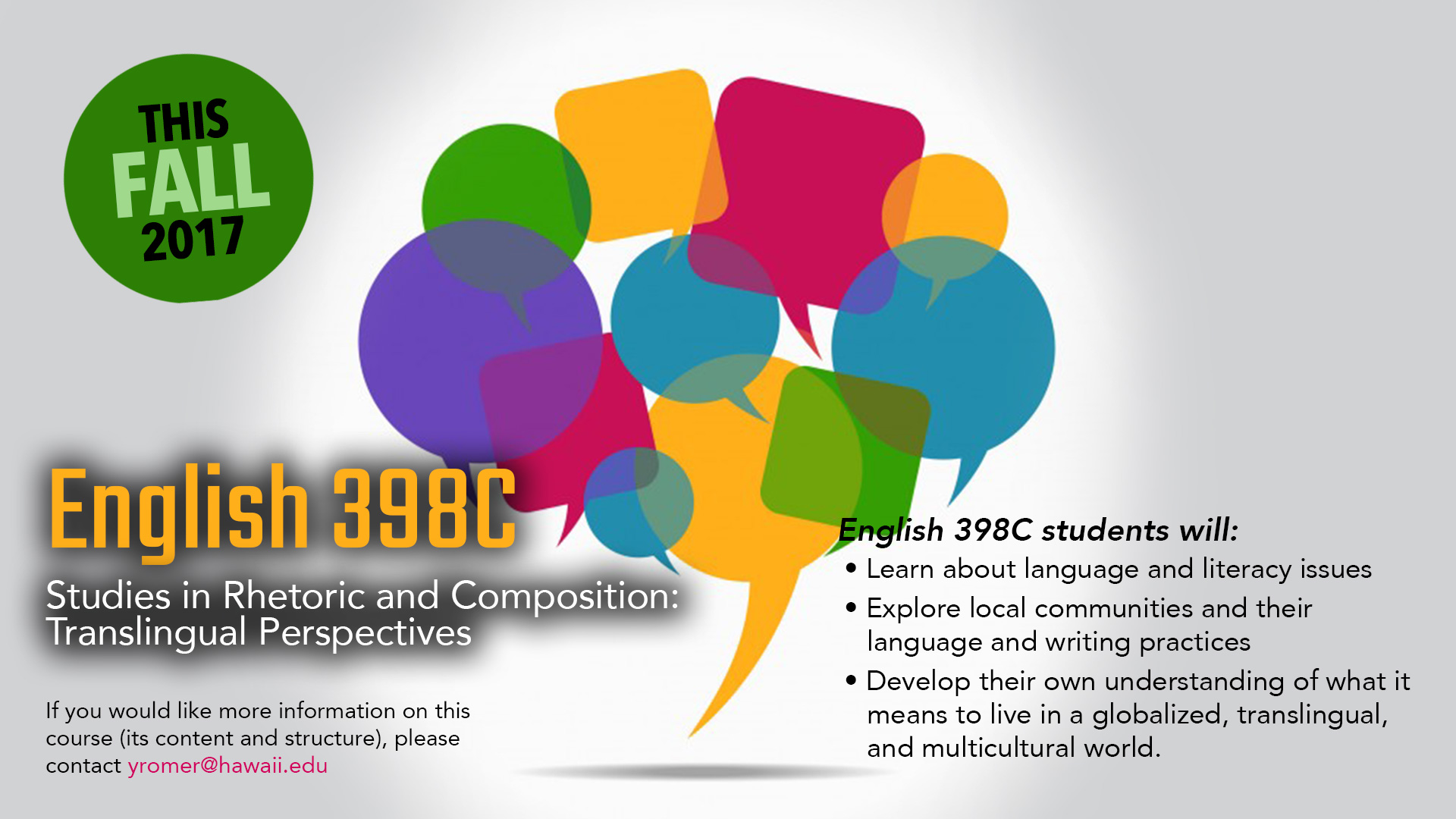 English 398C Studies in Rhetoric and Composition