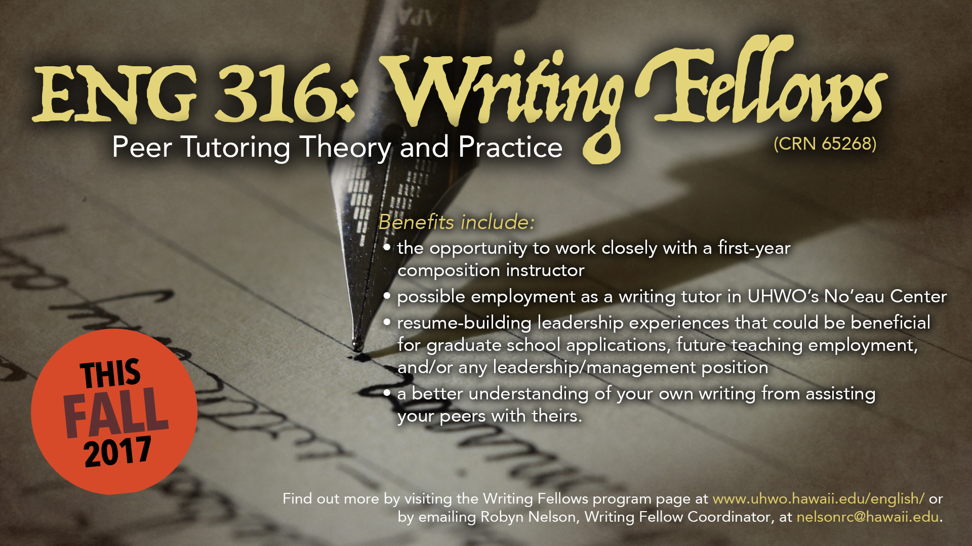 ENG 316: Writing Fellows Program flyer