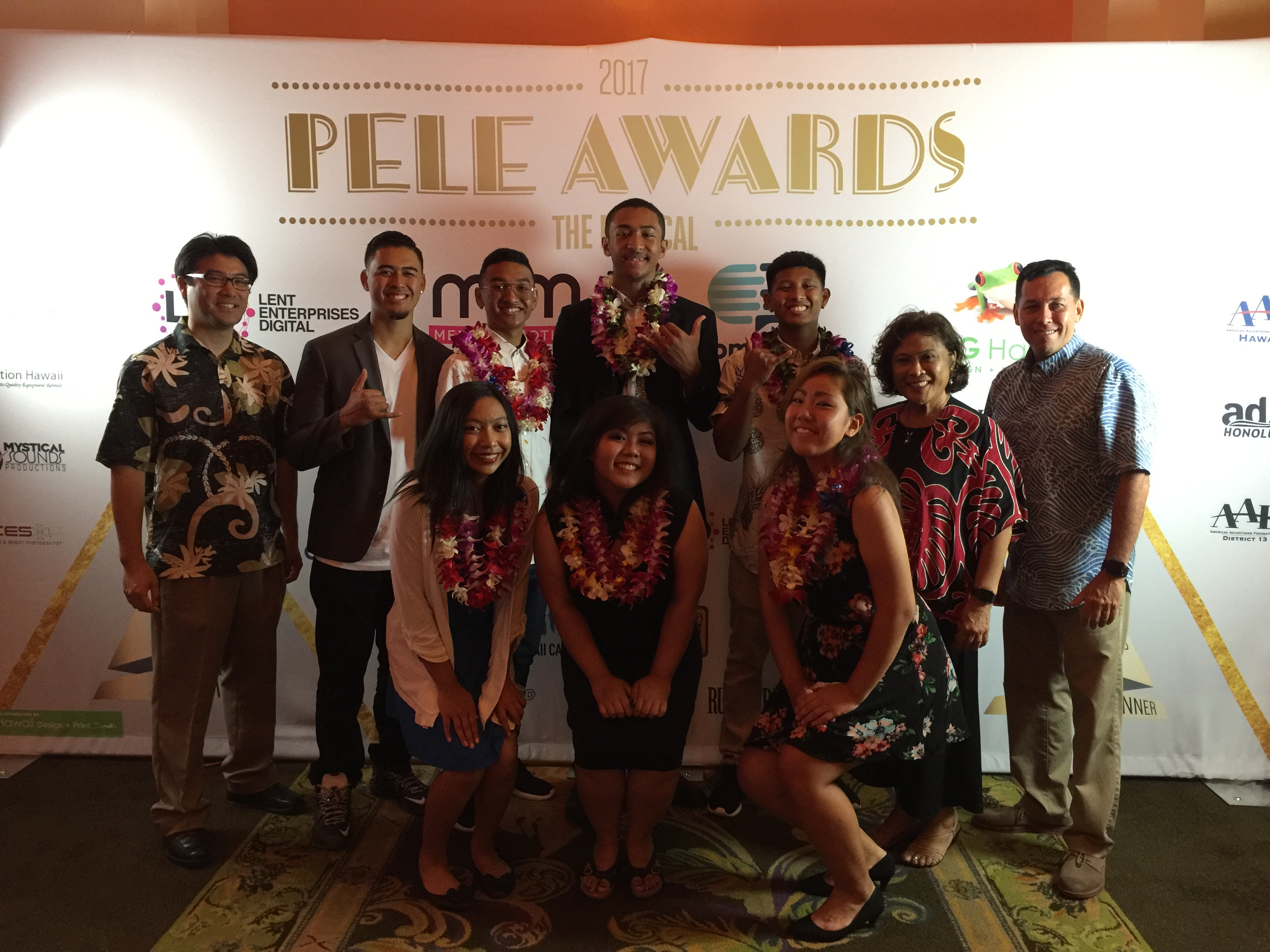 UHWO Early College students from Waiʻanae High Schoolʻs Searider Productions program at the 2017 Pele Awards.